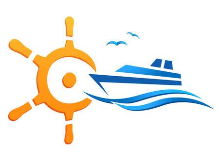 Ship steering wheel and yacht illustration.