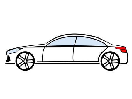 Aide view car illustration on white background. Illustration
