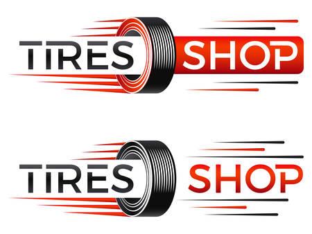 Snelheid banden winkel logo vectorillustratie. Stockfoto - 100243344