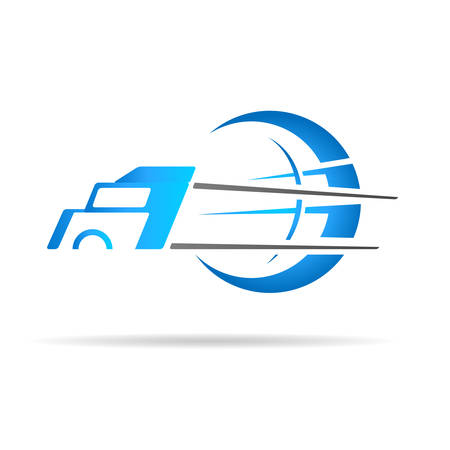 truck icon with globe