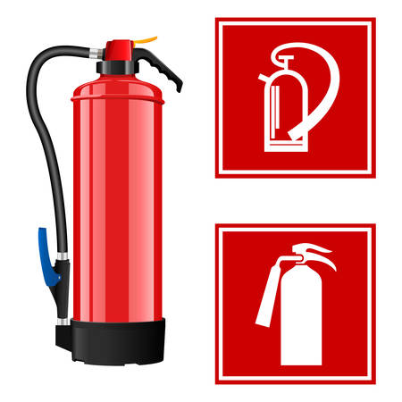 Fire extinguisher with signs