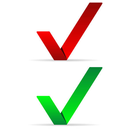 Green and red check marks - vector design