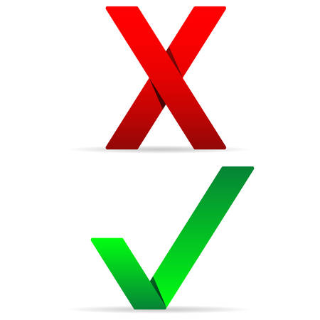 Green check mark and red x paper appearance Illustration