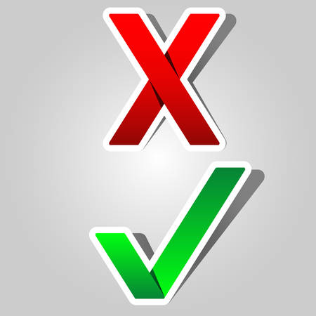 green check mark and red x - paper appearance