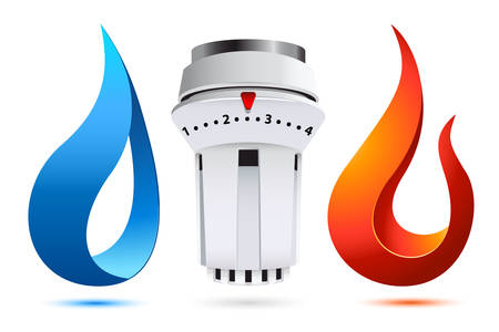 heating thermostat with fire and water icons - logo for plumber