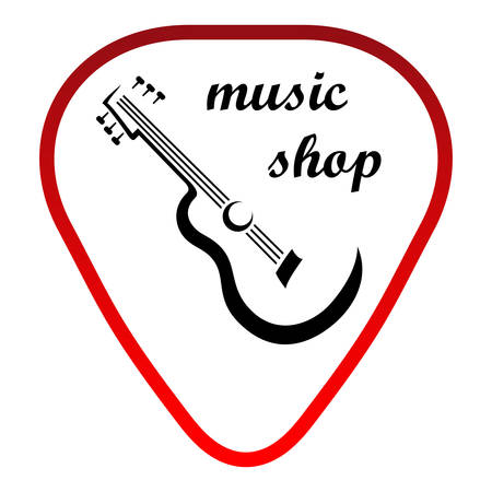 music shop illustration with guitar on plectrum