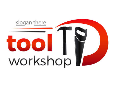 tool workshop - logo design with saw and hammer