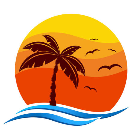 tropical icon with palm trees, sunset and sea gulls 向量圖像