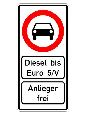 german road sign - diesel prohibited until 5 euro Vektorové ilustrace