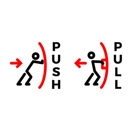 push pull output input sign Иллюстрация