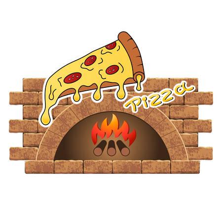 Poêle à bois avec pizza Vecteurs