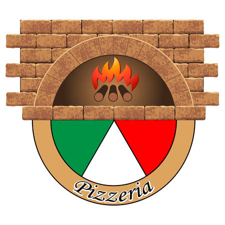Wood stove with pizza - logo design