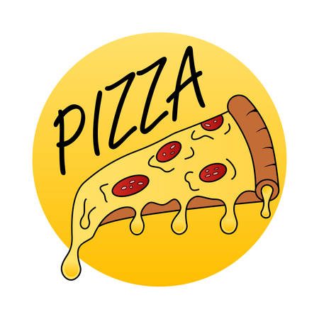 Pizza with cheese and salami - food logo Illustration