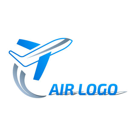 Private jet takes off - airplane logo design 일러스트