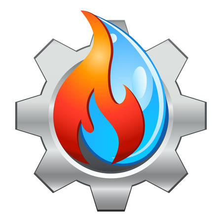 Water fire and gearwheel - plumbing logo design  イラスト・ベクター素材