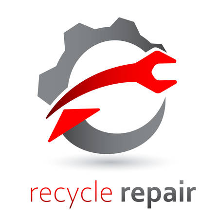 Recycle repair sign - with arrow, wrench and gear Vettoriali