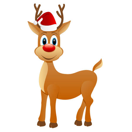 Reindeer with with Santa hat