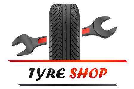 Tire shop logo with tire and wrench