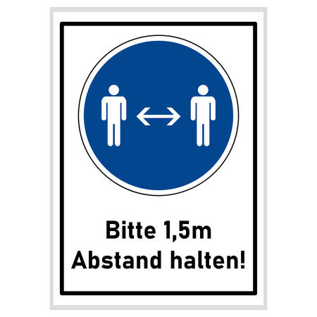 Social distancing - please keep 1.5m away (german text) - blue sign