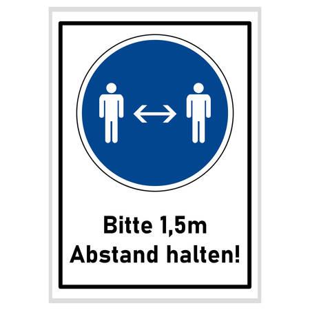 Social distancing - please keep 1.5m away (german text) - blue sign