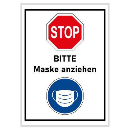 Please wear a mask (german text) - stop sign and blue mask sign