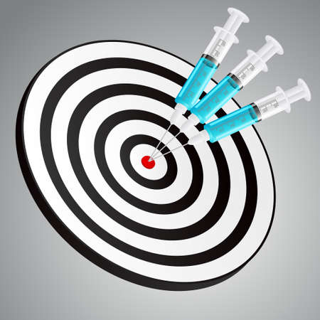 Dartboard, hit, success, syringe, vaccination, medicine - icon