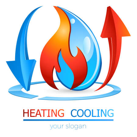 heating and cooling - plumber logo, icon