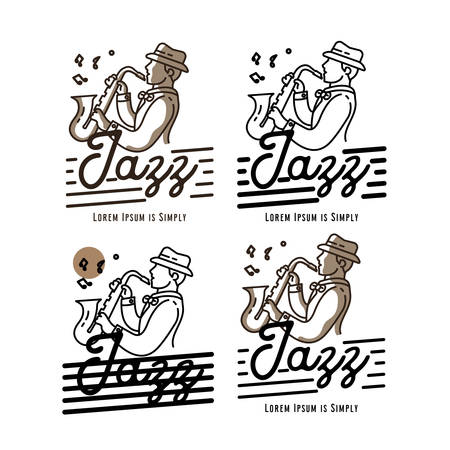 Man playing saxophone template monoline style