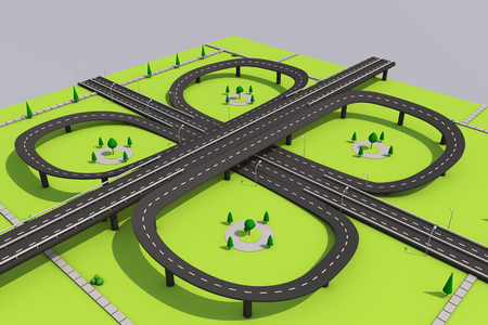 3D illustration of a road and a bridge on an abstract plot. Archivio Fotografico - 96478273