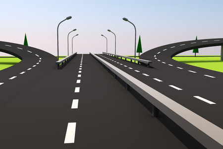 3D illustration of a road and a bridge on an abstract plot. Archivio Fotografico - 105015211
