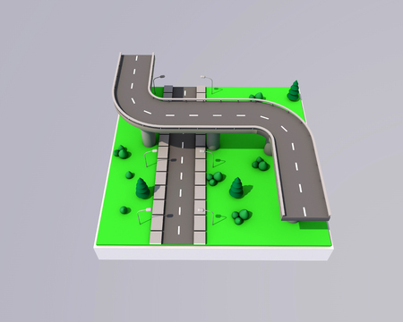 3d illustration of roads and bridges on abstract areas.