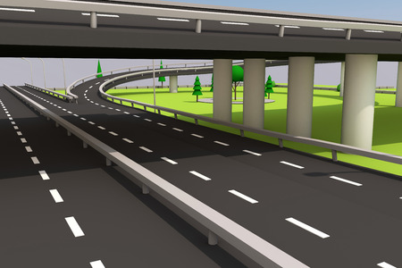 3D illustration of a road and a bridge on an abstract plot.