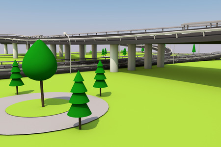 3D illustration of a road and a bridge on an abstract plot. Archivio Fotografico - 97162430