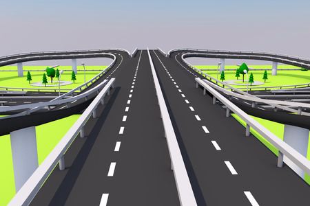 3D illustration of a road and a bridge on an abstract plot. Archivio Fotografico - 97162432