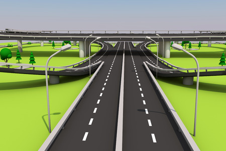 3D illustration of a road and a bridge on an abstract plot. Archivio Fotografico - 97162434