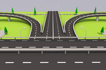 3D illustration of a road and a bridge on an abstract plot. Archivio Fotografico - 97244223