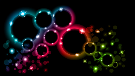Abstract multicolored luminous rings on a black background. EPS 10. Stock Illustratie