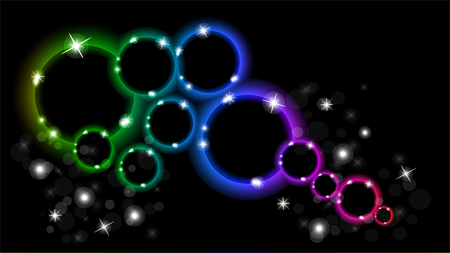 Abstract multicolored luminous rings on a black background.