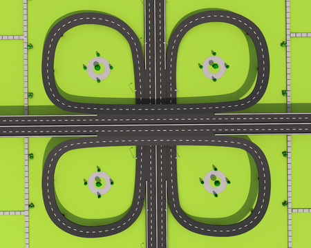Bridge and road with markings on a green background.