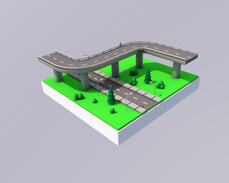 Bridge and road with markings on a green background. Archivio Fotografico - 99937255