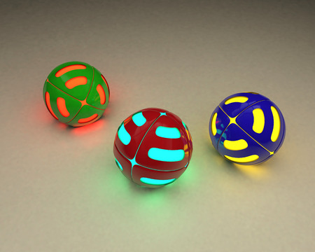 Multicolored balls lie on the floor of a gray color and emit a multicolored glow.