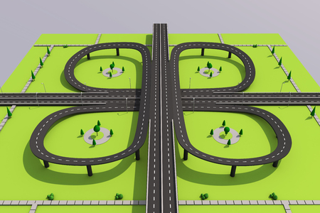 Bridge and road with markings on a green background. Archivio Fotografico - 100066581