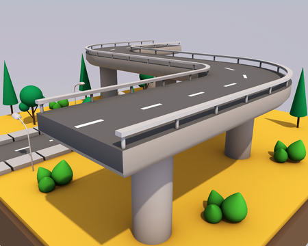 Bridge and road with markings on a yellow background. Archivio Fotografico - 99965633