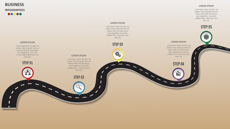 Abstract business infographics in the form of an automobile road with road markings, markers, icons and text. EPS 10. Illustration