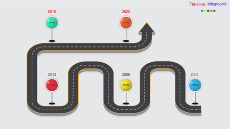 Infografía empresarial abstracta en forma de una carretera de automóvil con marcas viales, marcadores, iconos y texto. EPS 10.