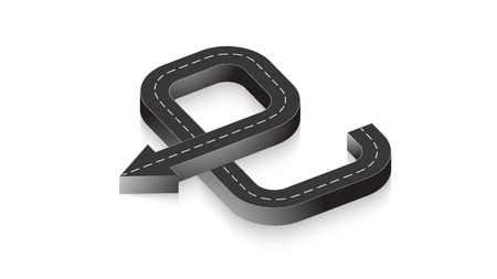 Abstract business infographics in the form of an automobile road with road markings. Ilustrace