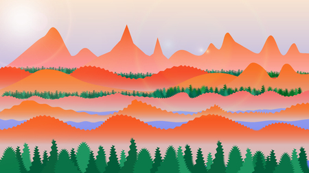 Abstract flat landscape with trees, mountains, pond and sun.