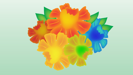 Multicolored vector flowers with beautiful shades.