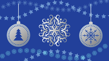 Vector Christmas balls on snowflakes background.