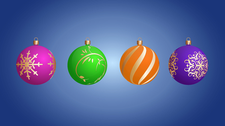 Vector Christmas balls with beautiful patterns.